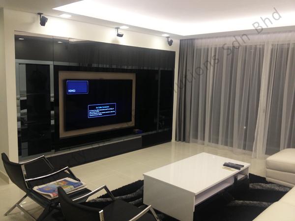 Living room using 2.5W down light and LED strip lighting.