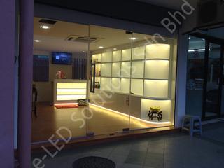 Retail display LED strip lighting.