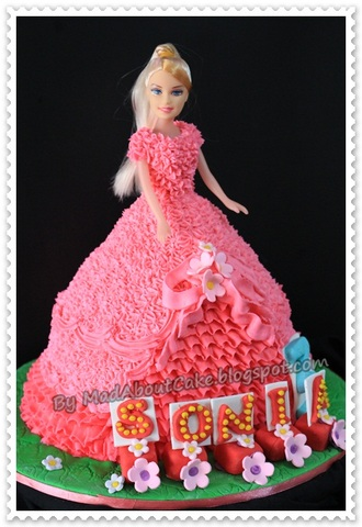 Barbie Doll Cake- Butter icing