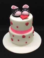 2-tier baby girl sneakers cake