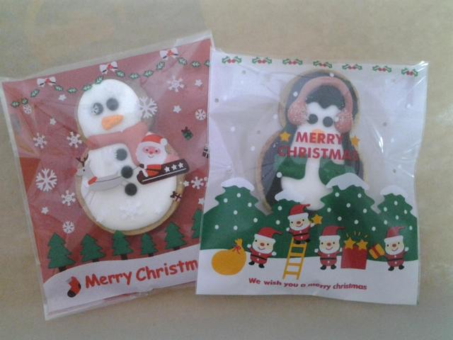 Christmas icing snowman & penguin cookies