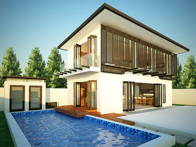 Build up double story house with landscape and swimming pool