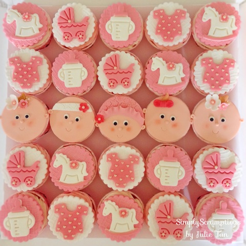 Pink Themed Baby Shower Cupcakes