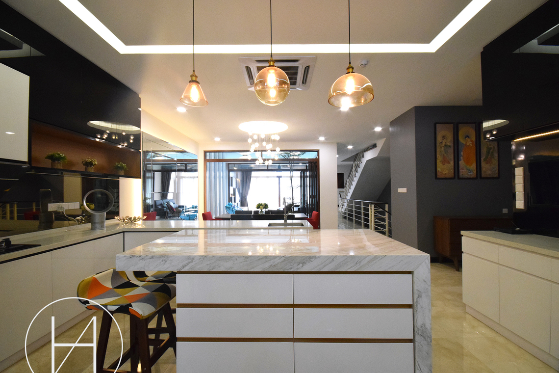 Resident - Kiara View, Mont Kiara by Hatch Interior Studio Sdn Bhd - Semi-D / Bungalow Kitchen Living Living Room Dining Garden Bedroom Bathroom Above 2400 sqft Modern Contemporary - Recommend.my