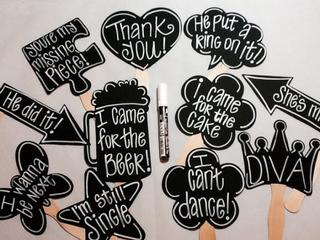 Medium chalk marker plus 10 blank chalkboard photo booth props speech bubble props chalk board photobooth props wedding photo props