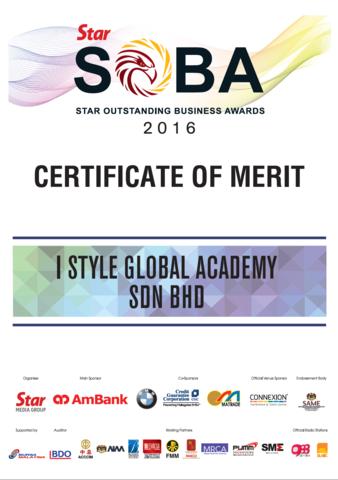 2016 SOBA Certificate of Merit