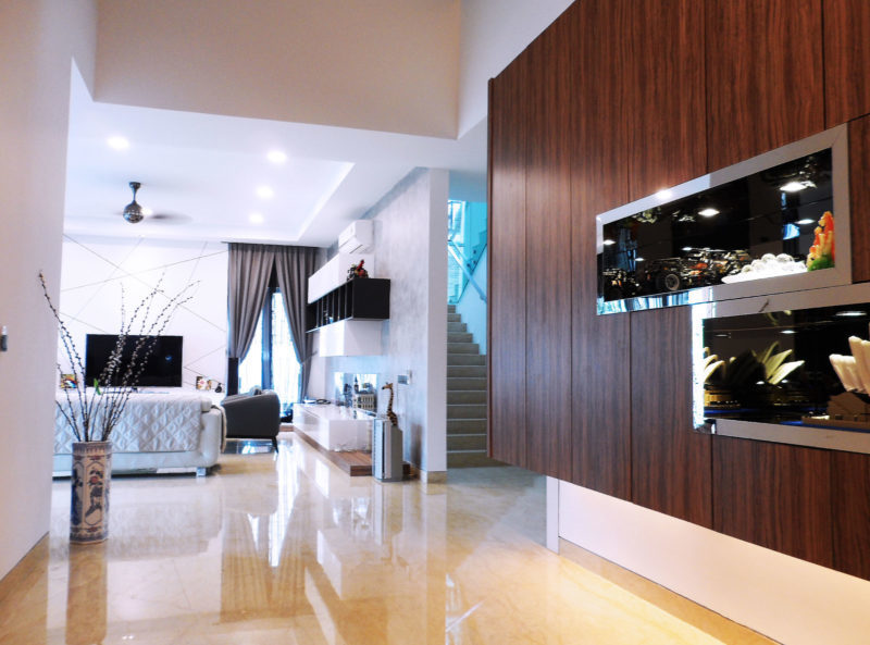 Bungalow in Saujana Impian, Kajang by FURLAB SDN BHD - Modern Contemporary Completed Semi-D / Bungalow Bathroom Bedroom Dining Kitchen Living Room TV Cabinet / Console 3D Design Garden - Recommend.my