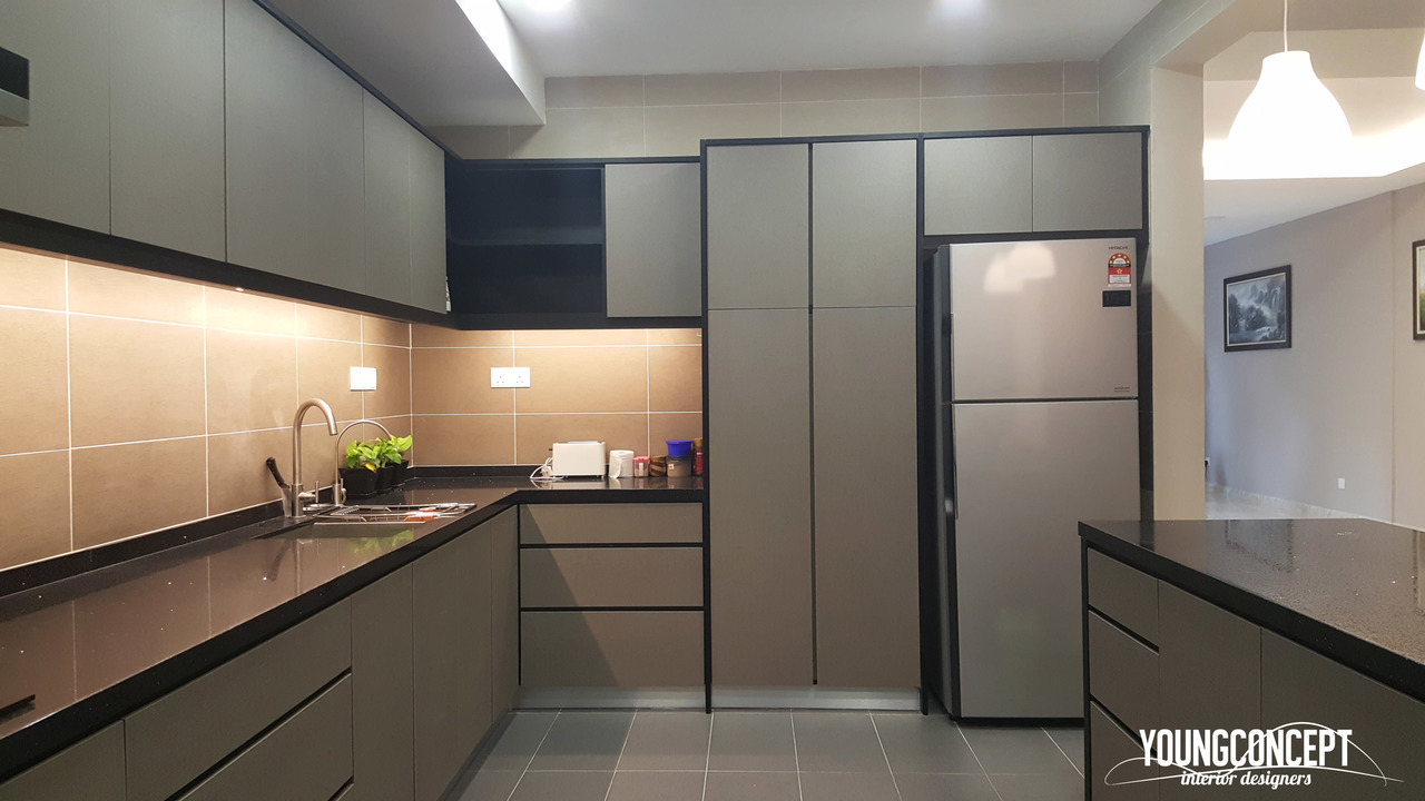 Lake Edge, Puchong by Young Concept Design Sdn Bhd - Completed Above 2400 sqft Semi-D / Bungalow Flooring Plaster Ceiling Living Living Room Paint Carpentry Modern Scandinavian Link house / Townhouse TV Cabinet / Console Patio Kitchen Dining Wardrobe - Recommend.my