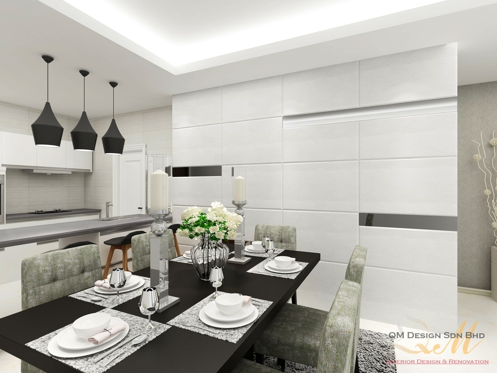 Condominium | Cheras by QM Design Sdn Bhd - Completed Concept 800 - 1200 sqft Condo / Apartment Bathroom Dining Living Kitchen Bedroom Kids Bedroom Entrance /  Foyer Study / Office Modern Contemporary Carpentry Flooring 3D Design Wetworks Plaster Ceiling Paint Kitchen Cabinet Furniture Living Room Ceiling Wardrobe Wooden TV Cabinet / Console Wall Decor Display Shelf - Recommend.my