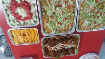 Mee hoon goreng, mixed fruits, assorted chicken fried