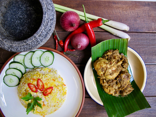 Chicken Rendang with Nasi Minyak Set