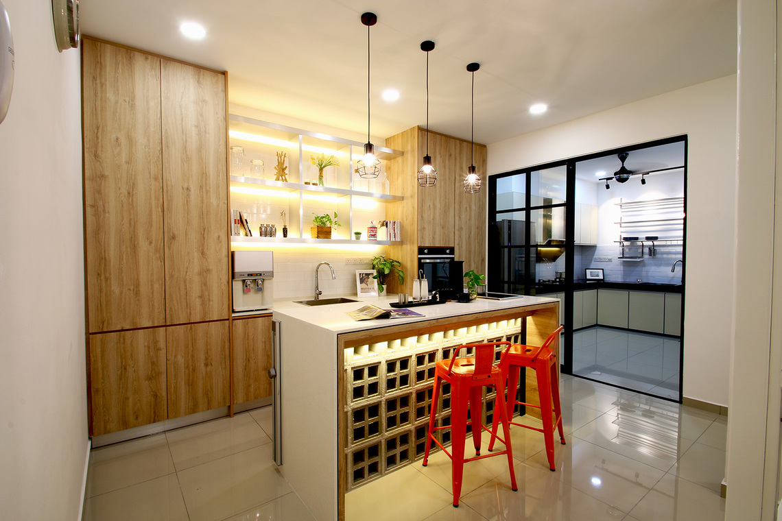 J RESIDENCE by AMORPHOUS DESIGN SDN BHD - Completed 1800 - 2400 sqft Semi-D / Bungalow Kids Bedroom Bedroom Living Living Room Dining Bathroom Kitchen Contemporary Kitsch Industrial Minimalist Carpentry Flooring Paint Ceiling - Recommend.my
