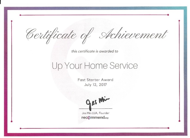 Up Your Home Services Sdn Bhd 2017 award