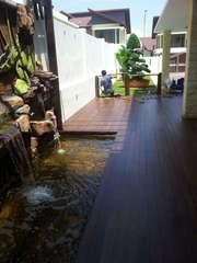 decking beside fish pond