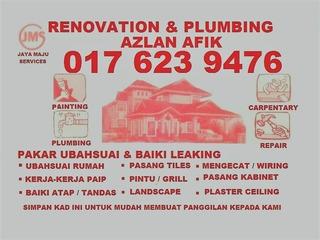 contraktor plumbing dan renovation azlan afik 0176239476 wangsa maju