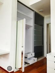 Functional sliding mirror to save space & follow the Fengshui not to do rule.