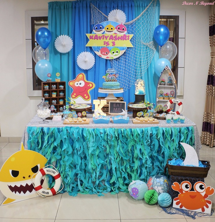 Baby shark birthday party by decor n beyond for Decor n more