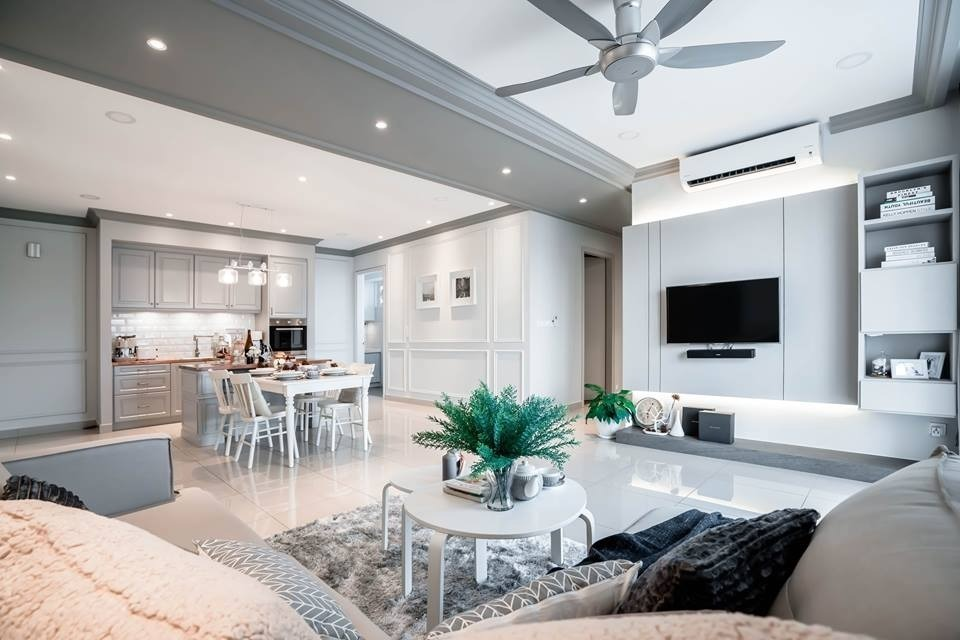 Modern Classic Design, Vina Residency by Double Art Design Studio - Completed 800 - 1200 sqft Condo / Apartment Bedroom Kids Bedroom Living Living Room Dining - Recommend.my