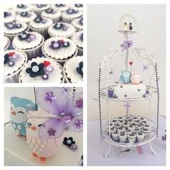 Owl Wedding cake and cupcakes