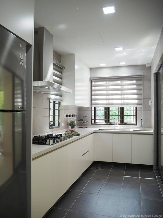 Double Storey Modern White Kitchen at Subang Jaya by Meridian Inspiration Sdn Bhd - Completed 1800 - 2400 sqft Semi-D / Bungalow Kitchen Modern - Recommend.my