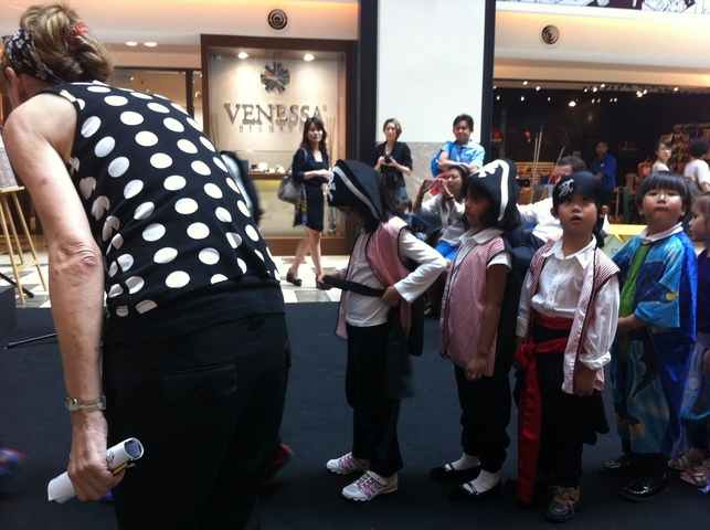 Our little pirates getting ready to perform in a mall in KL!