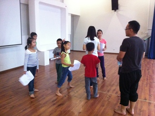 Rehearsing for a public performance in Brunei.