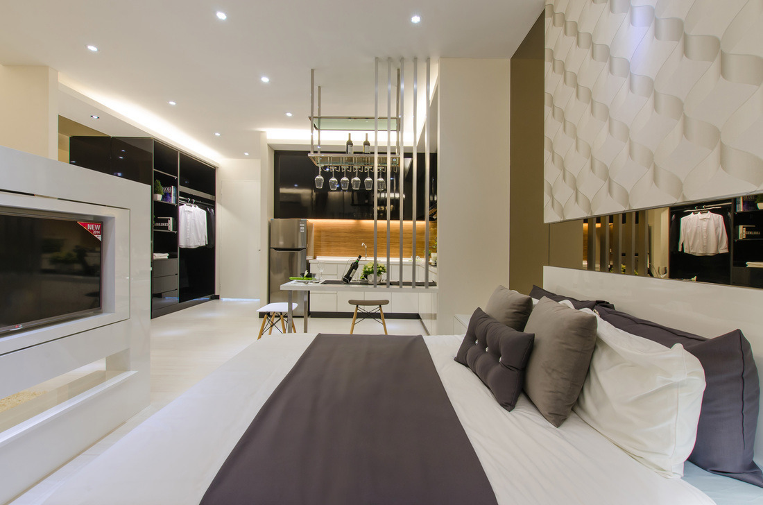 Symphony ( Studio) by MOUS DESIGN - Completed Concept Ideas Below 800 sqft Studio Showroom Modern Carpentry Flooring 3D Design Plaster Ceiling Wallpaper Paint Curtain Lighting Furniture Electrical - Recommend.my
