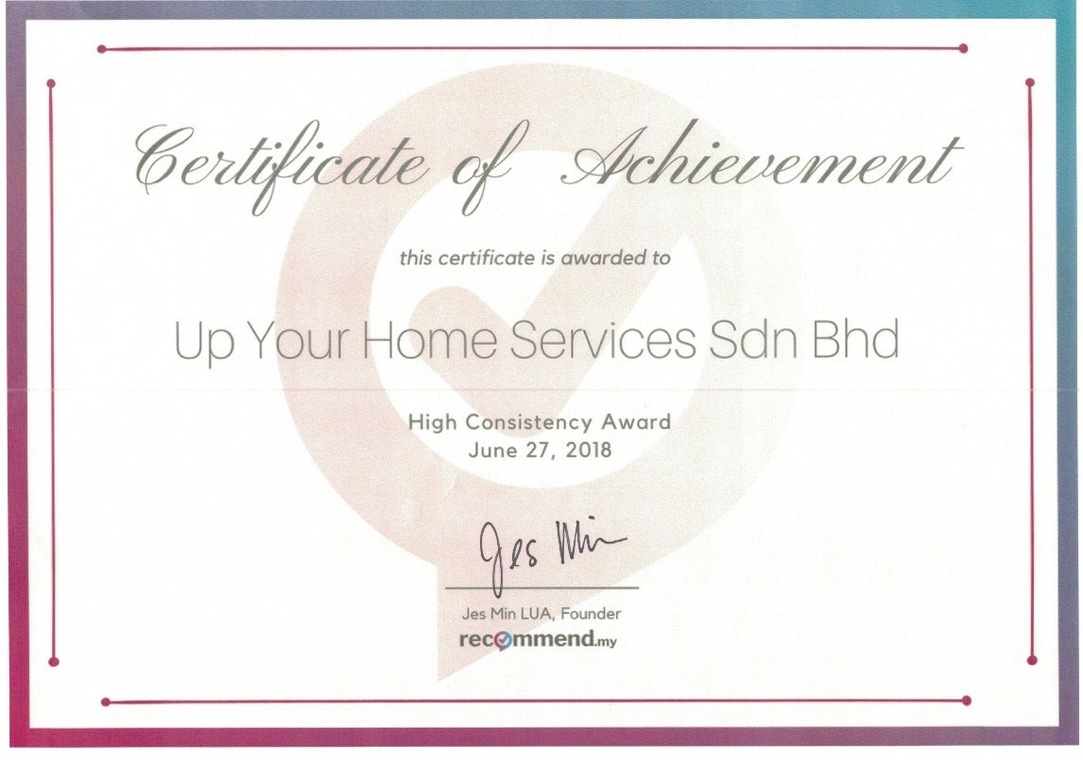 Up Your Home Services Sdn Bhd 2018 Awards