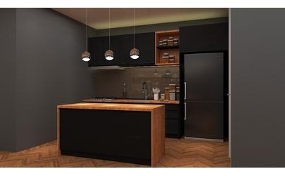 Dark Single Wall Kitchen With Island
