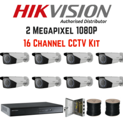 Medium 2mp 1080p 16 channel 8 camera vari focal hikvision kit