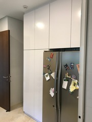Customised kitchen cabinet with top shelves for extra storage (External Design)