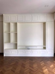 TV cabinet with display shelves for extra storage.