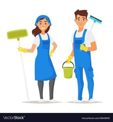 Medium cleaning service man and woman vector 18648091