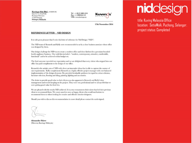 Commendation Letter - Kuvings Sdn Bhd