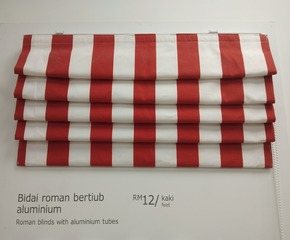 Roman blinds with aluminum tubes