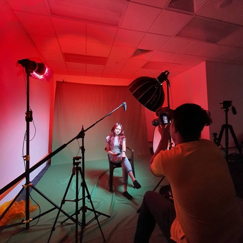 Our studio includes a green screen backdrop for our team to produce after effects visuals.