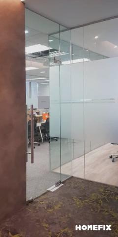 Office glass installation