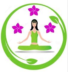Medium yoga meditation girl logo 26757685