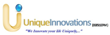 Medium unique innovations logo with motto